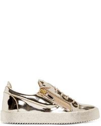 goldene Leder niedrige Sneakers von Giuseppe Zanotti