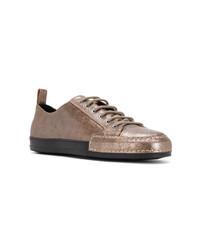 goldene Leder niedrige Sneakers von Haider Ackermann
