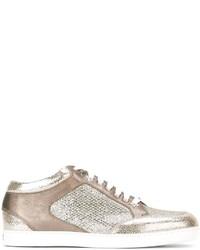 goldene Leder niedrige Sneakers von Jimmy Choo
