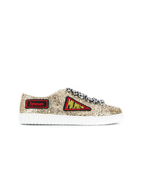 goldene Leder niedrige Sneakers von Miu Miu