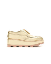 goldene Leder Oxford Schuhe von Prada