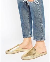 goldene Leder Pantoletten von Aldo