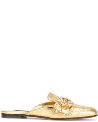 goldene Leder Pantoletten von Dolce & Gabbana