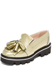goldene Leder plateau Slippers