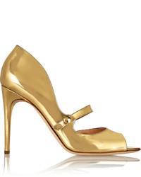 goldene Leder Pumps mit Ausschnitten