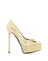 goldene Leder Pumps mit Schlangenmuster von Versace