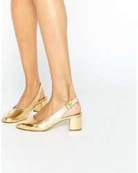 goldene Leder Pumps von Asos