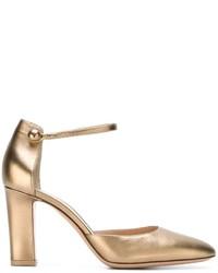 goldene Leder Pumps von Gianvito Rossi