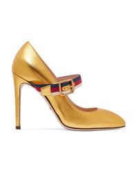 goldene Leder Pumps von Gucci