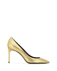 goldene Leder Pumps von Saint Laurent