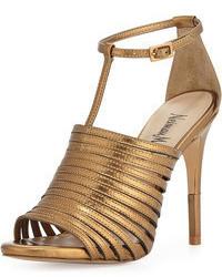 goldene Leder Sandaletten
