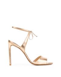 goldene Leder Sandaletten von Francesco Russo