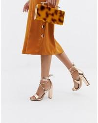 goldene Leder Sandaletten von Glamorous