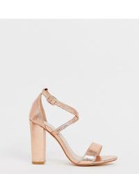 goldene Leder Sandaletten von Glamorous Wide Fit