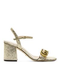 goldene Leder Sandaletten von Gucci