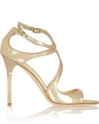goldene Leder Sandaletten von Jimmy Choo