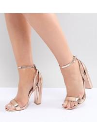 goldene Leder Sandaletten von Lost Ink Wide Fit