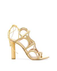 goldene Leder Sandaletten von Salvatore Ferragamo