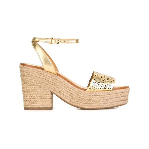 goldene Leder Sandaletten von Tory Burch