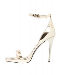 goldene Leder Sandaletten von Versace