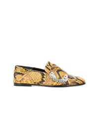 goldene Leder Slipper mit Schlangenmuster von Proenza Schouler