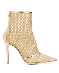 goldene Leder Stiefeletten von Gianvito Rossi