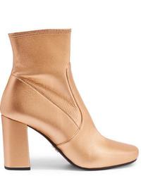 goldene Leder Stiefeletten von Prada