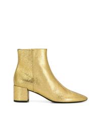 goldene Leder Stiefeletten von Saint Laurent