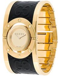 goldene Leder Uhr von Gucci