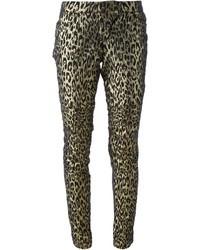 goldene Leggings mit Leopardenmuster von Philipp Plein