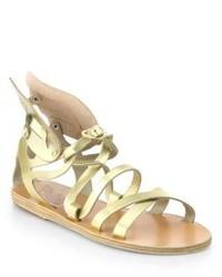 goldene Römersandalen aus Leder