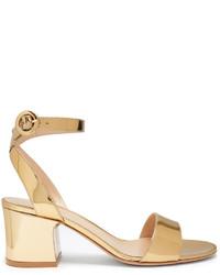 goldene Satin Sandaletten