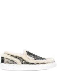 goldene Slip-On Sneakers aus Leder von MM6 MAISON MARGIELA