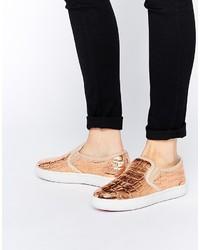goldene Slip-On Sneakers aus Leder von Ted Baker