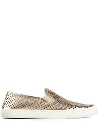 goldene Slip-On Sneakers aus Leder von Tory Burch