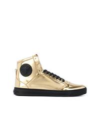goldene verzierte hohe Sneakers von Versace