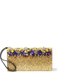 goldene verzierte Leder Clutch von Marni