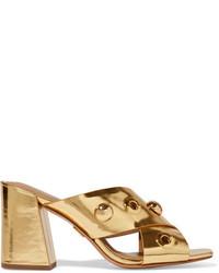 goldene verzierte Leder Pantoletten von Michael Kors