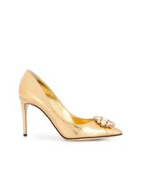 goldene verzierte Leder Pumps von Dolce & Gabbana