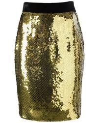 goldener Pailletten Bleistiftrock von Moschino