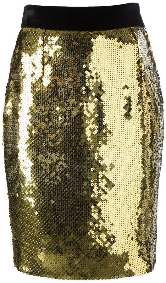 goldener Paillette Bleistiftrock von Moschino