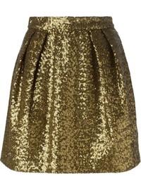 goldener Skaterrock aus Paillette von MSGM