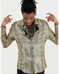 goldenes bedrucktes Langarmhemd
