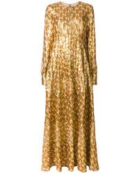 goldenes besticktes Maxikleid von Tory Burch