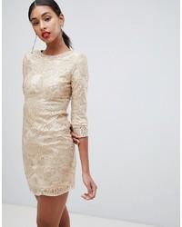goldenes besticktes Paillette figurbetontes Kleid von TFNC