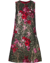 goldenes Kleid aus Brokat mit Blumenmuster von Dolce & Gabbana