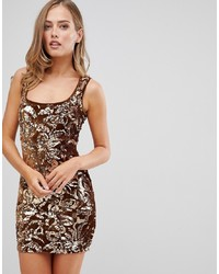goldenes Paillette figurbetontes Kleid von Flounce London