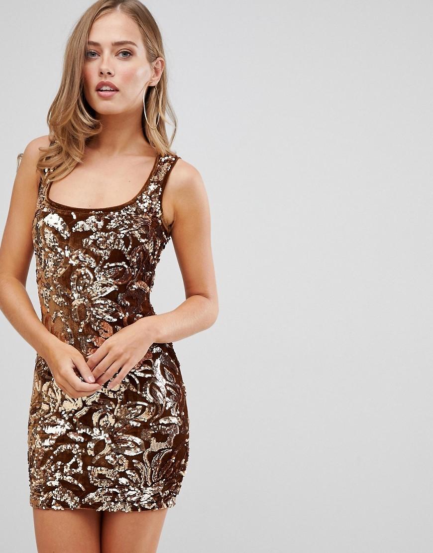 goldenes Paillette figurbetontes Kleid von Flounce London