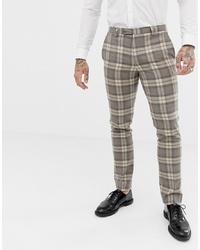 graue Anzughose mit Karomuster von Twisted Tailor