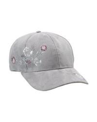 graue Baseballkappe mit Blumenmuster von New Look